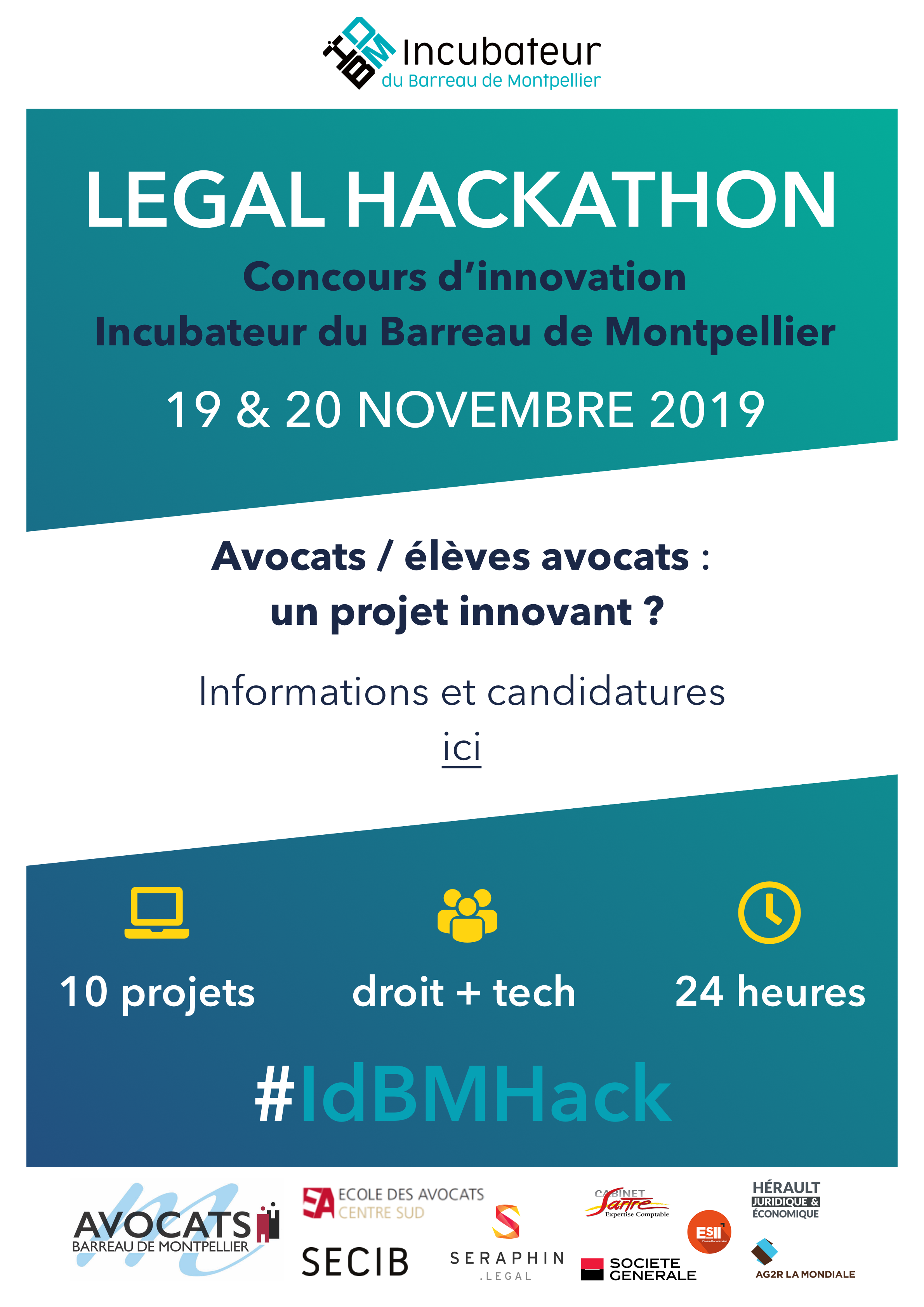 LEGAL HACKATHON - Incubateur du Barreau de Montpellier - 19 & 20 NOVEMBRE 2019
